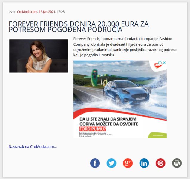 FOREVER FRIENDS DONIRA 20.000 EURA ZA POTRESOM POGOĐENA PODRUČJA