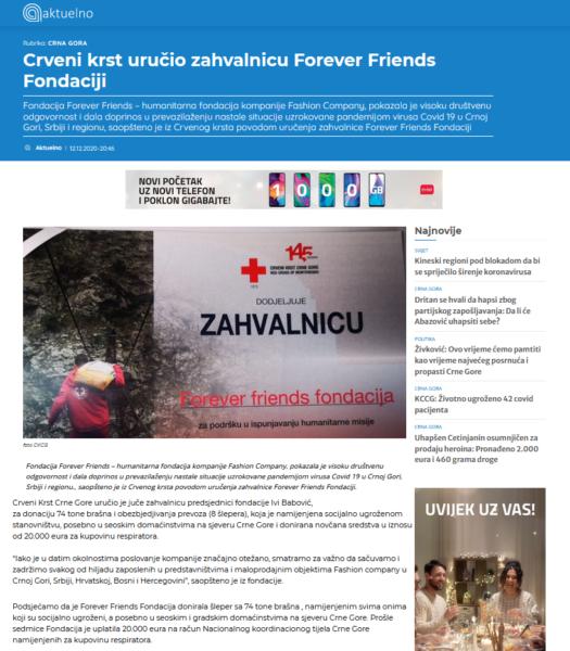 Crveni krst uručio zahvalnicu Forever Friends Fondaciji
